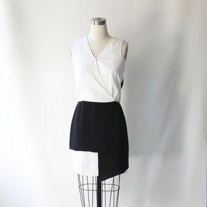Tibi Color Block Wrap-Effect Surplice Mini Dress